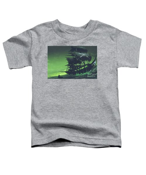 Toddler T-Shirt featuring the painting The Flying Dutchman by Tithi Luadthong