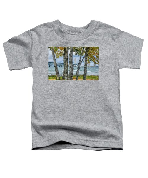 The Mackinaw Bridge By The Straits Of Mackinac In Autumn With Birch Trees Toddler T-Shirt