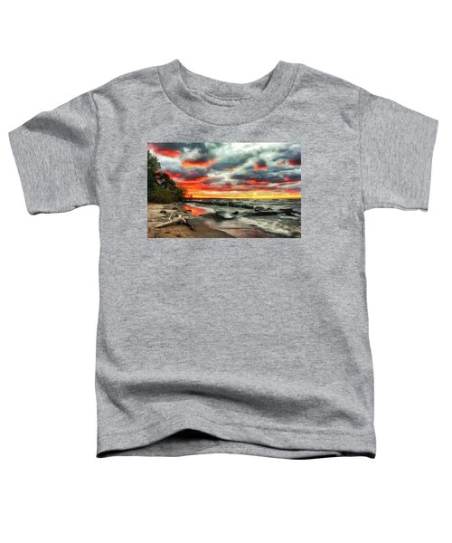 The Sky On Fire At Sunset On Lake Erie Toddler T-Shirt