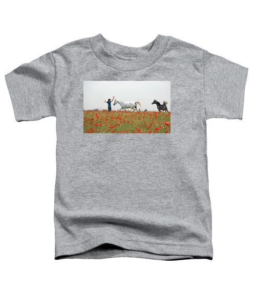 Three At The Poppies' Field Toddler T-Shirt by Dubi Roman