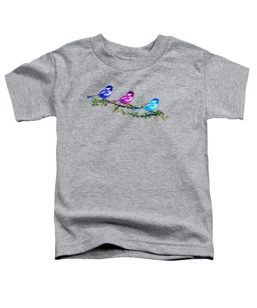 Three Chickadees Toddler T-Shirt by Teresa Ascone