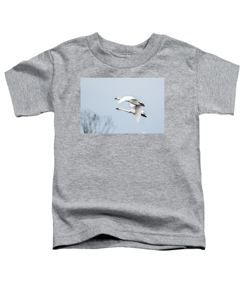 Toddler T-Shirt featuring the photograph Tundra Swan Lift-off by Donald Brown