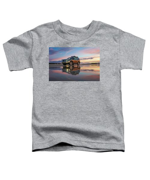 Twilight Beach Reflections And 4wd Car Toddler T-Shirt