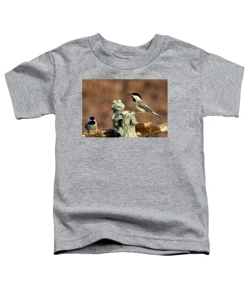 Two Black-capped Chickadees And Frog Toddler T-Shirt