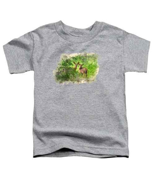 White Tailed Deer Fawns Watercolor Art Toddler T-Shirt