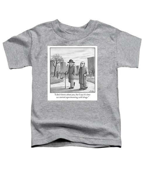 Two Older Men Walk With Canes Through A Park. Toddler T-Shirt