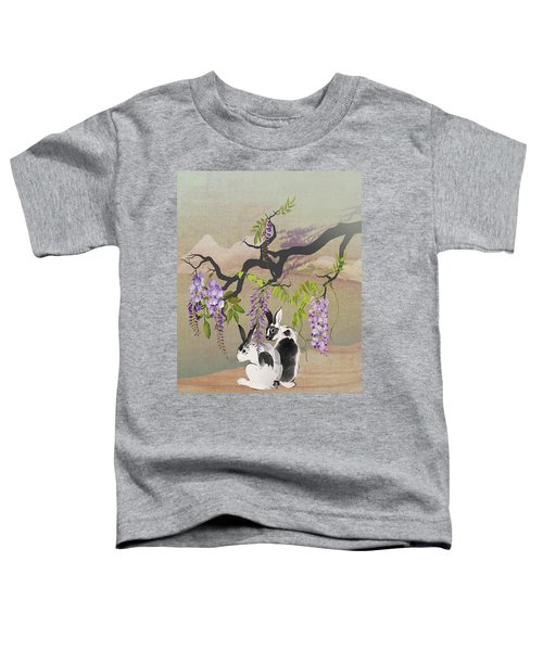Two Rabbits Under Wisteria Tree Toddler T-Shirt