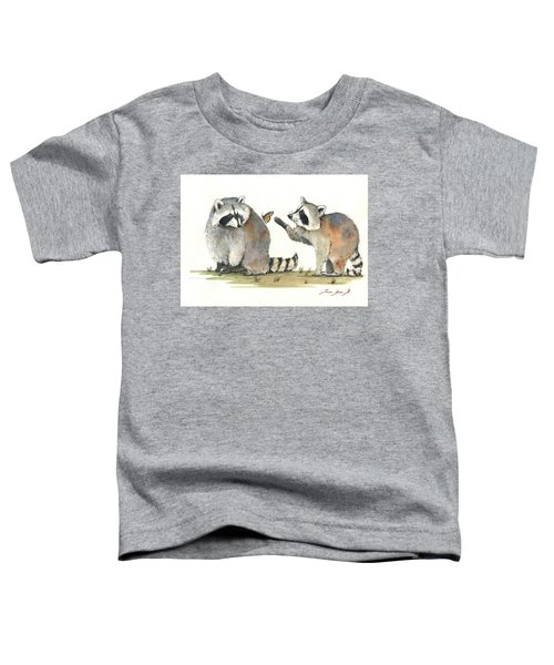 Two Raccoons Toddler T-Shirt by Juan Bosco