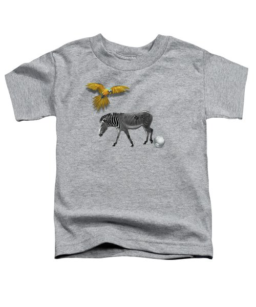 Two Zebras And Macaw Toddler T-Shirt by iMia dEsigN