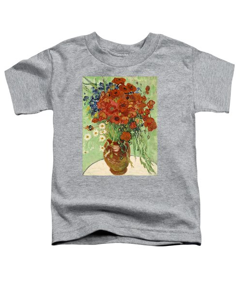 Toddler T-Shirt featuring the painting Vase With Daisies And Poppies by Van Gogh