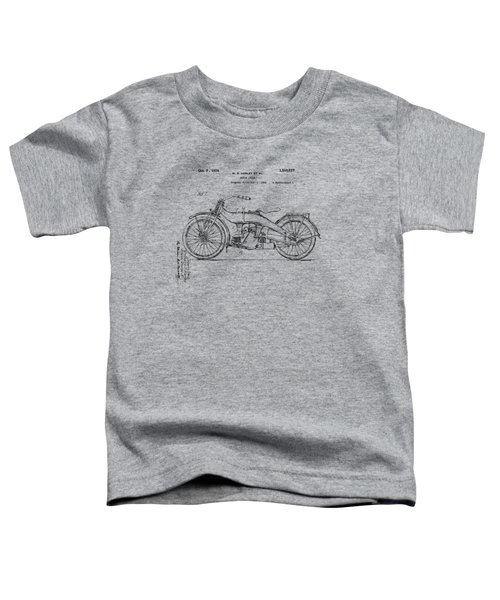 Vintage Harley-davidson Motorcycle 1924 Patent Artwork Toddler T-Shirt by Nikki Smith