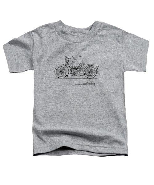 Vintage Harley-davidson Motorcycle 1928 Patent Artwork Toddler T-Shirt by Nikki Smith