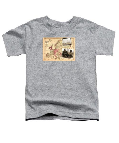 Vintage Map Europe To New York Toddler T-Shirt