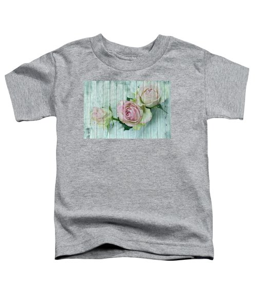 Vintage Shabby Chic Pink Roses On Wood Toddler T-Shirt