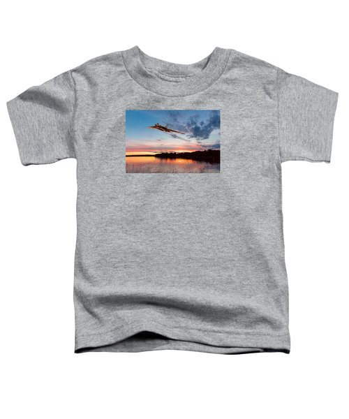 Vulcan Low Over A Sunset Lake Toddler T-Shirt by Gary Eason