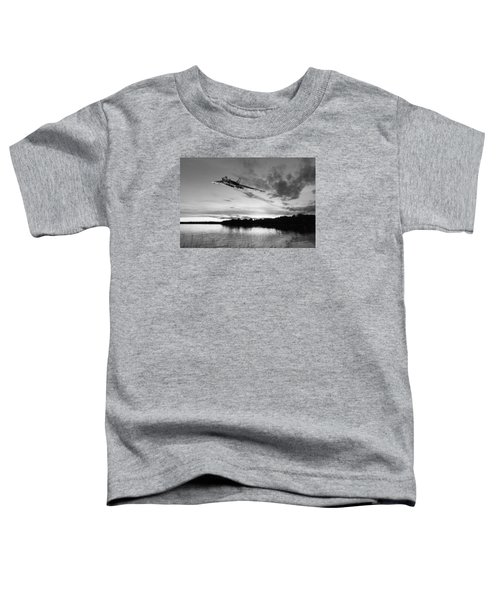 Toddler T-Shirt featuring the digital art Vulcan Low Over A Sunset Lake Sunset Lake Bw by Gary Eason