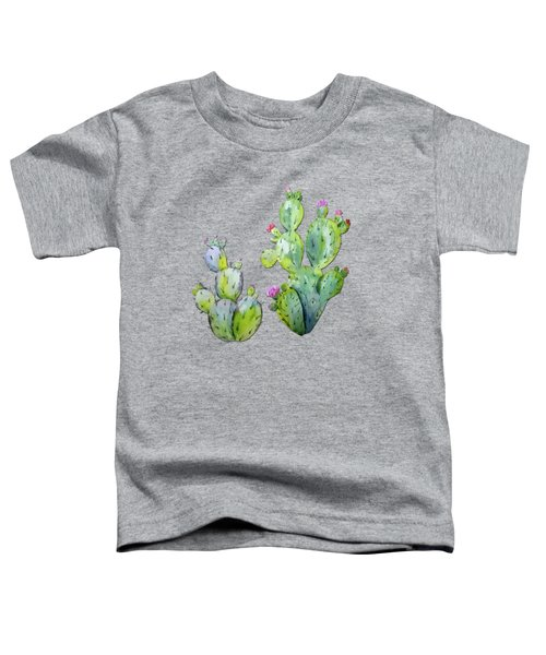 Water Color Prickly Pear Cactus Adobe Background Toddler T-Shirt by Elaine Plesser