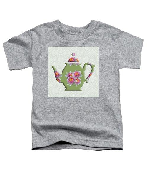 Water Lily Pattern Teapot Toddler T-Shirt