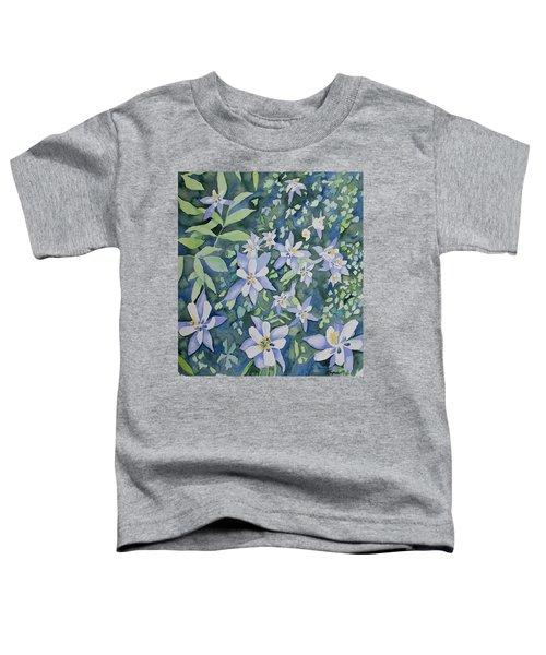 Watercolor - Blue Columbine Wildflowers Toddler T-Shirt