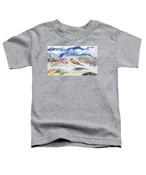 Watercolor - Double-banded Plover On The Beach Toddler T-Shirt