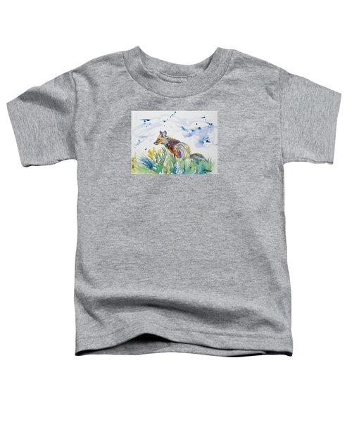 Watercolor - Fox On The Lookout Toddler T-Shirt