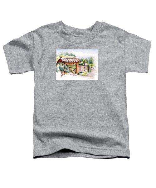 Watercolor Japanese Garden Gate Toddler T-Shirt