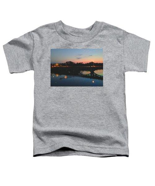 Watercolor Sunset Over Lamar Street Bridge Austin Texas Toddler T-Shirt