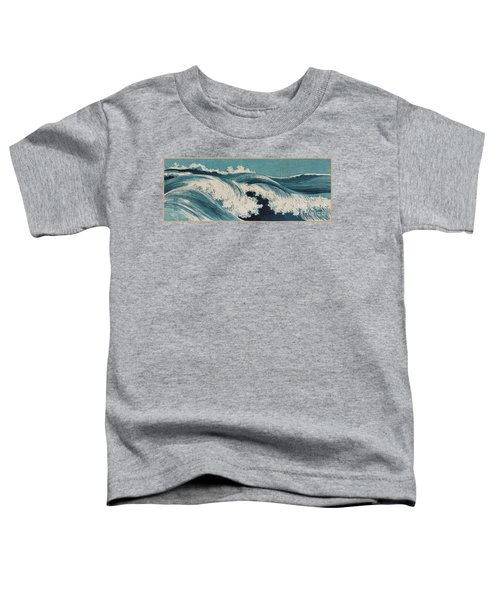 Toddler T-Shirt featuring the painting Waves by Konen Uehara