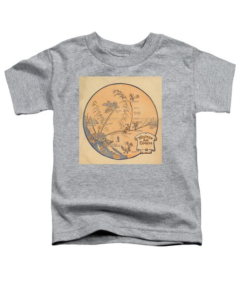Western Air Express - Vintage Illustrated Vignette Of The Air Routes - North America Toddler T-Shirt