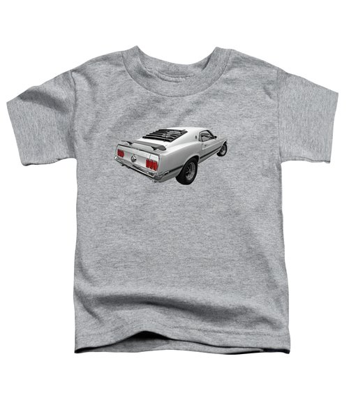White '69 Mach 1 In Black And White Toddler T-Shirt
