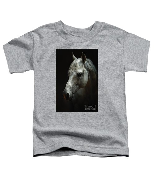 White Horse Portrait Toddler T-Shirt