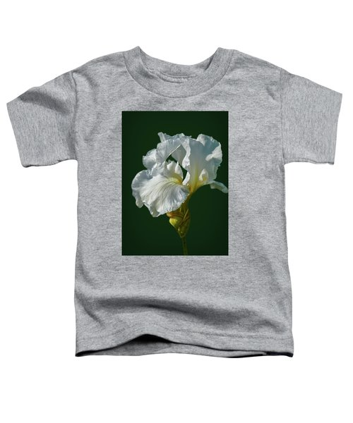 White Iris On Dark Green #g0 Toddler T-Shirt
