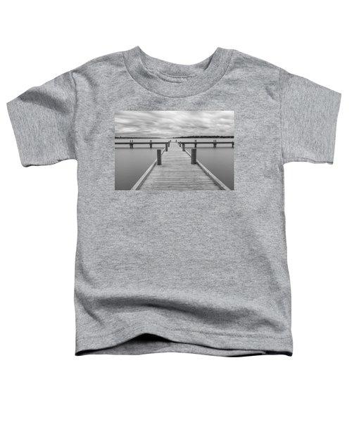 White Rock Lake Pier Black And White Toddler T-Shirt
