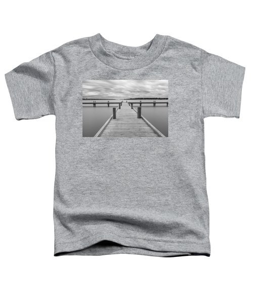 White Rock Lake Pier Black And White Toddler T-Shirt