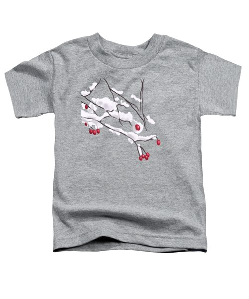 Winter Berries And Branches Covered In Snow Toddler T-Shirt