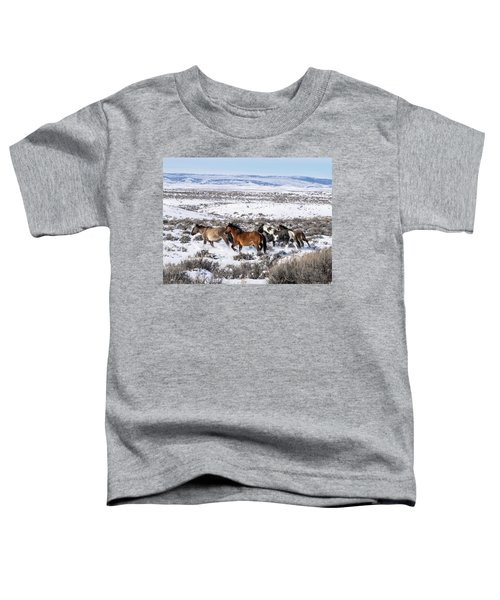 Winter In Sand Wash Basin - Wild Mustangs On The Run Toddler T-Shirt