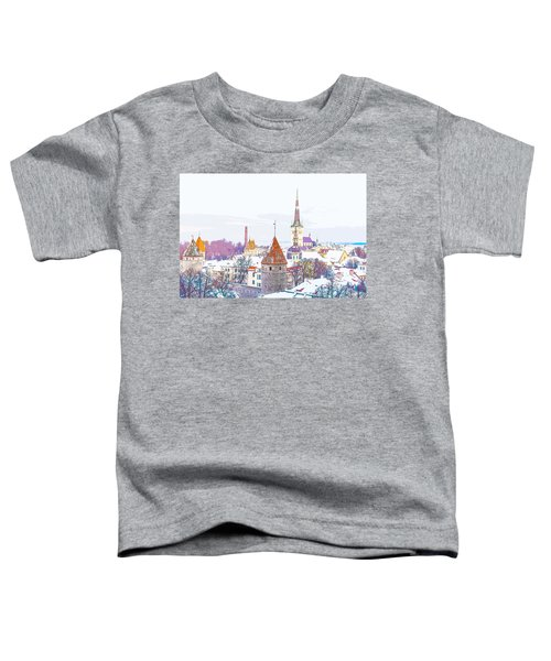 Winter Skyline Of Tallinn Estonia Toddler T-Shirt