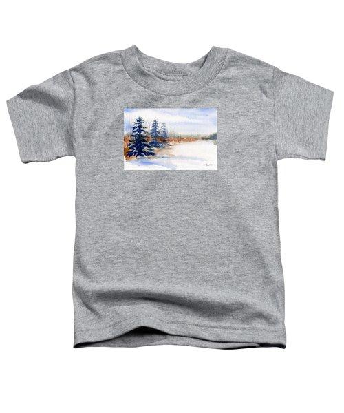 Winter Storm Watercolor Landscape Toddler T-Shirt