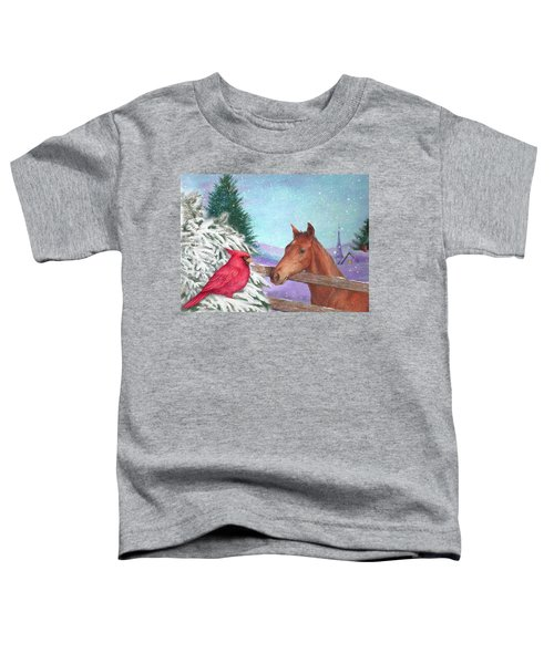 Winterscape With Horse And Cardinal Toddler T-Shirt