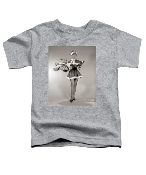 Woman In Sexy Santa Outfit, C.1960s Toddler T-Shirt