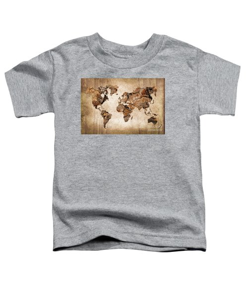 Wood World Map Toddler T-Shirt