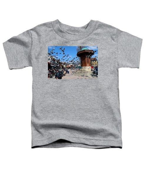 Wooden Ottoman Sebilj Water Fountain In Sarajevo Bascarsija Bosnia Toddler T-Shirt