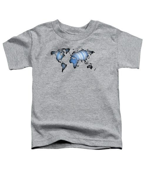 Worldmap Over Blue Circles Toddler T-Shirt