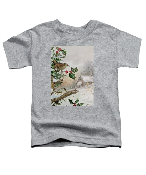 Wren In Hollybush By A Cottage Toddler T-Shirt by Carl Donner