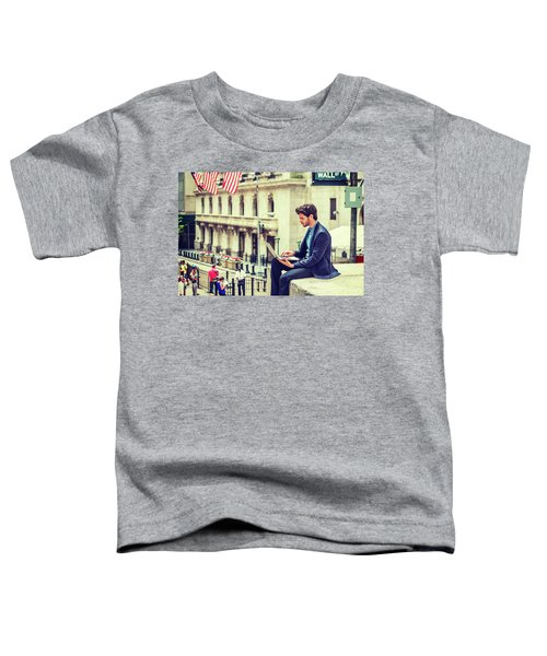 Young Businessman Working On Wall Street In New York Toddler T-Shirt
