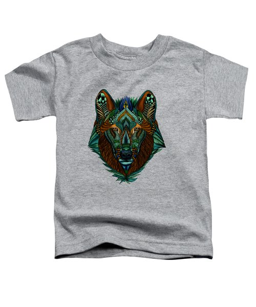 Zentangle Inspired Art- Wolf Colored Toddler T-Shirt