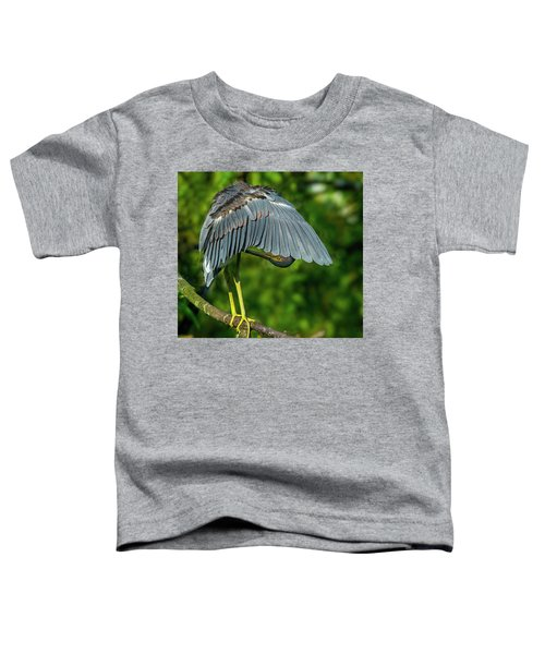 Toddler T-Shirt featuring the photograph Preening Reddish Heron by Donald Brown
