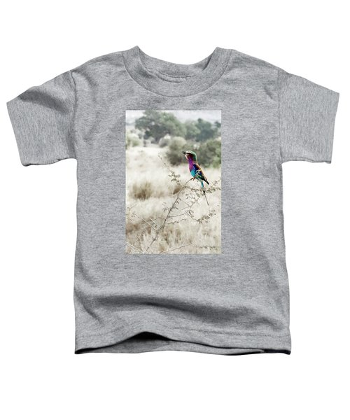 A Lilac Breasted Roller Sings, Desaturated Toddler T-Shirt