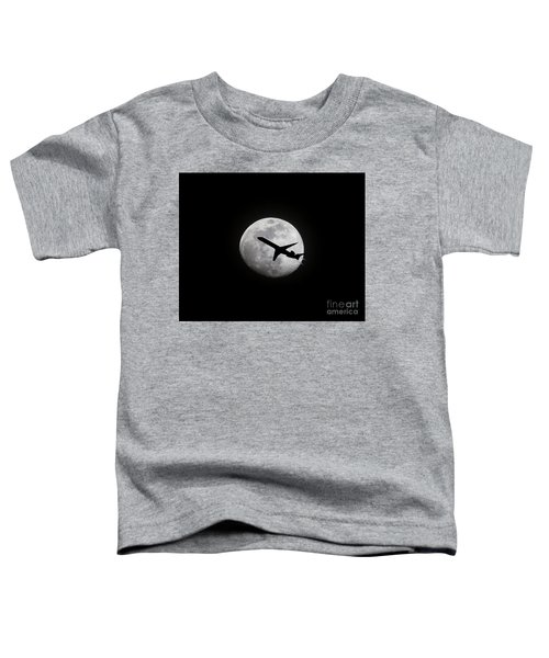 Airliner Passing In Front Of A Full Moon Toddler T-Shirt