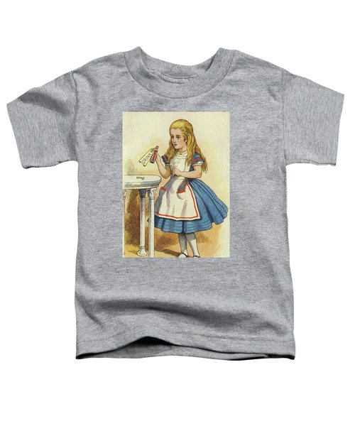 Alice Discovers A Bottle Marked Drink Me Toddler T-Shirt